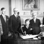 October 14, 1957: Prince Philip signs the membership book of the Royal Society of Canada