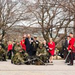 Prince Philip observes a dynamic military display by the 3rd Battalion, The Royal Canadian Regiment
