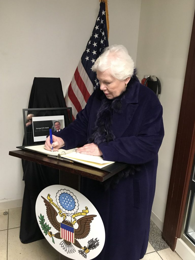 Signing of the Book of Condolences for former US President George H. W. Bush