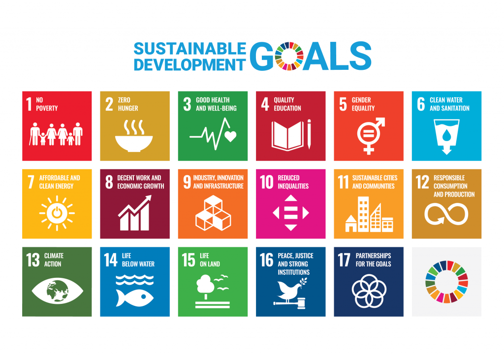 An image of 17 coloured blocks representing the United Nations Sustainable Development Goals