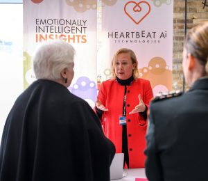The Lieutenant Governor speaks with representative from Heartbeat AI startup