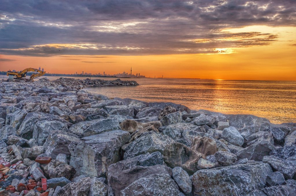 Sunset on the reclaimed lakeshore of Mississauga