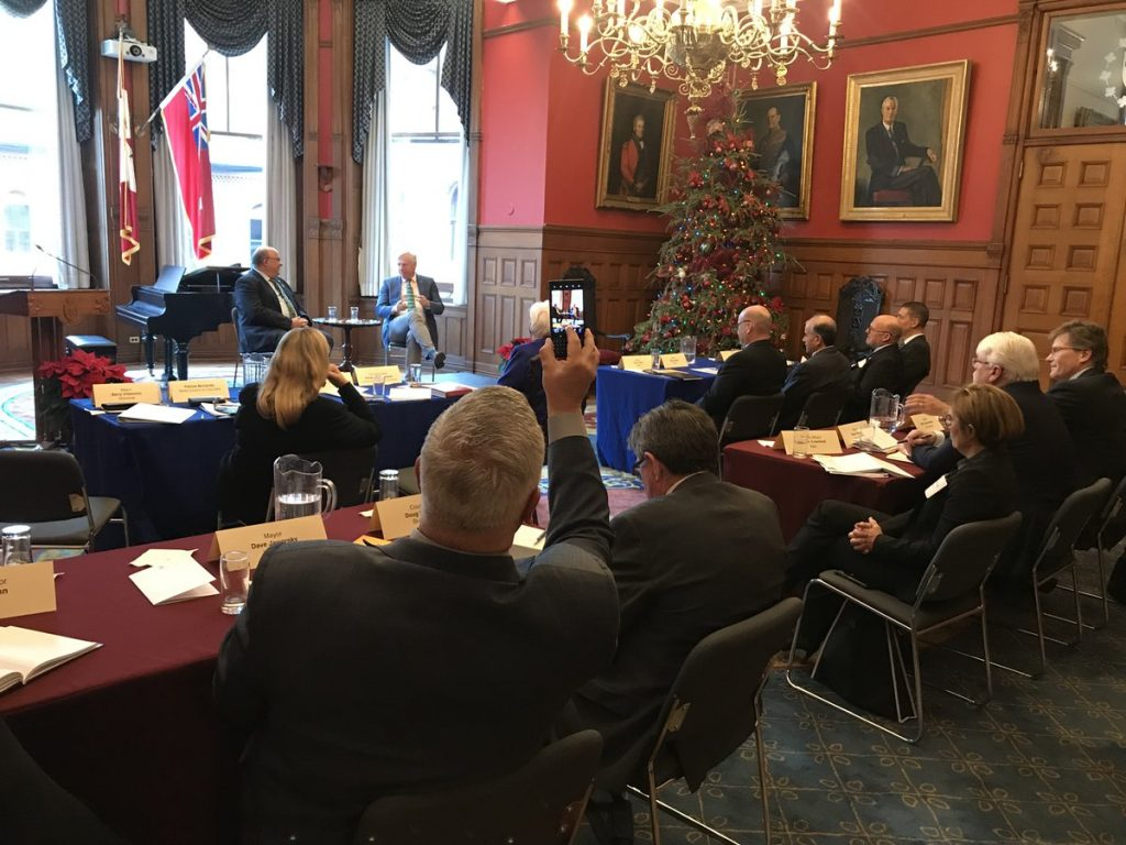 Mayors attend a dialogue in the Lieutenant Governor's Suite