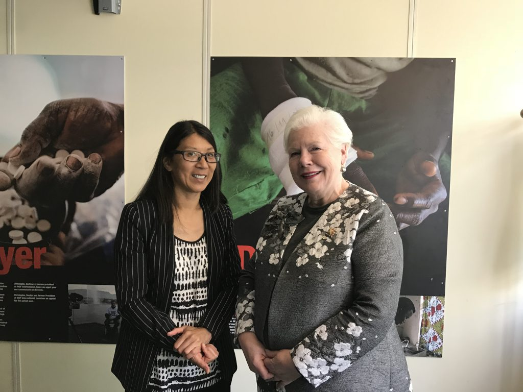 The Lieutenant Governor stands with former head of the Medecin Sans Frontier Joanne Liu