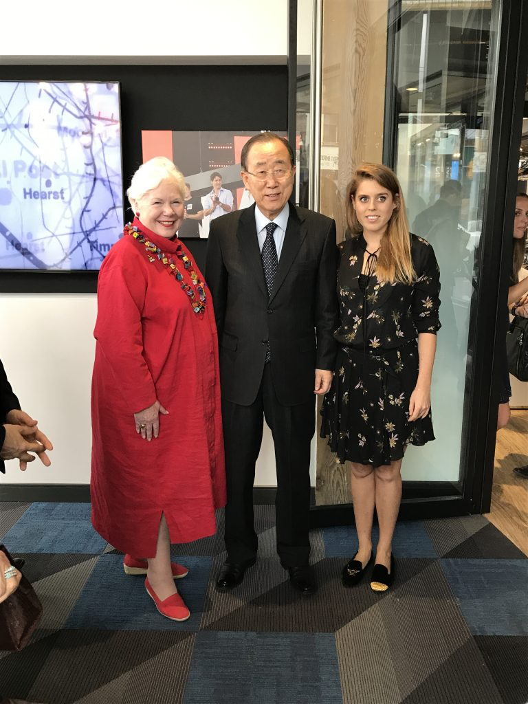 The Lieutenant Governor stands with former Secretary General of the UN Ban Ki-Moon and HRH Princess Eugenie