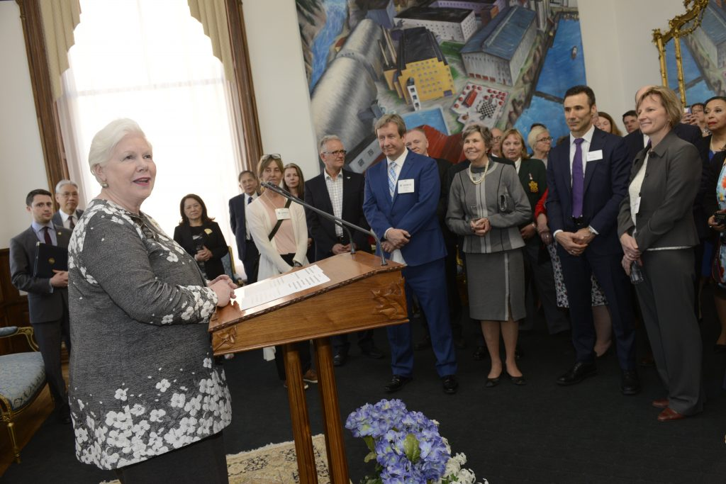 The Lieutenant Governor addresses representatives of patronage organizations at a reception at Queen's Park in 2018