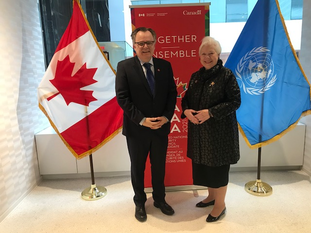 The Lieutenant Governor stands with Canada's Ambassador to the UN Marc Andre Blanchard