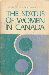 A blue and yellow cover of a report with the title The Status of Women in Canada